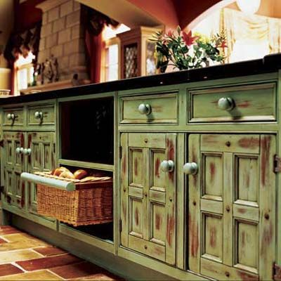 distressed painted kitchen cabinets