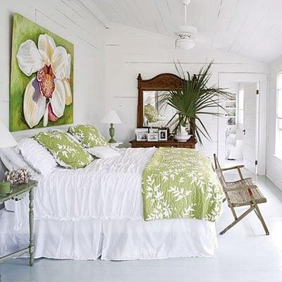 white walls, white floor and white linen