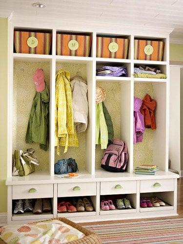 Use wallpaper scraps on closets