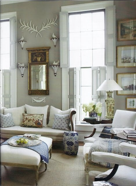 blue and white china from habitually chic