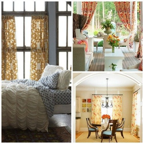 curatain collage - patterned fabric curtains