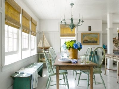 khaki colored blinds at antique-farm-table- country living