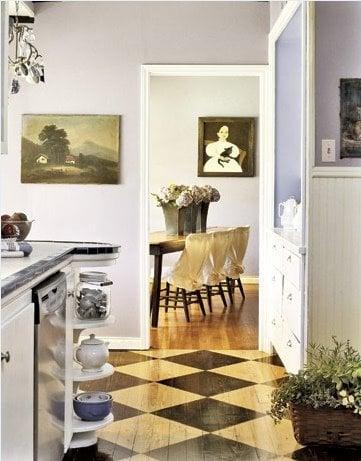 checkerboard floor boards