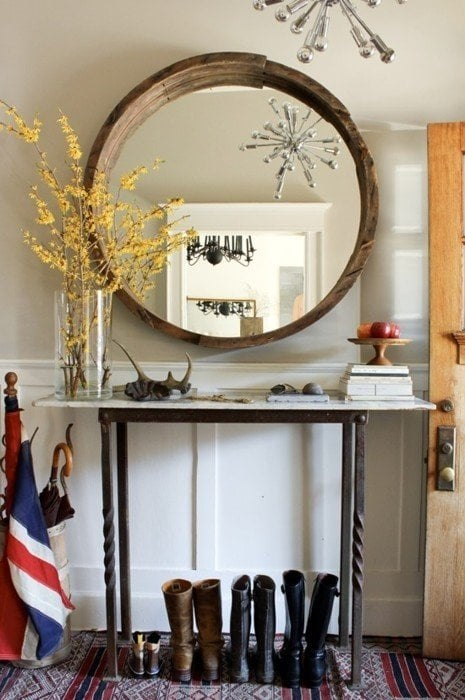 Large Round Foyer Mirror : Simple entry decorating wow in hour decorated life