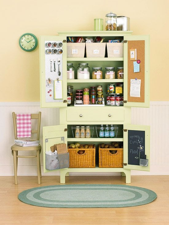green kitchen painted furniture storage - pinterest