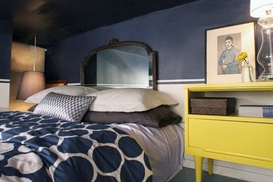 navy and yellow bedroom - apartment therapy