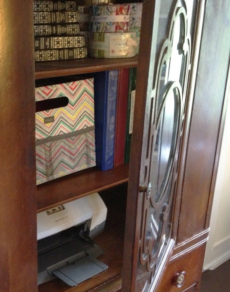 vintage cabinet converted into a office furniture