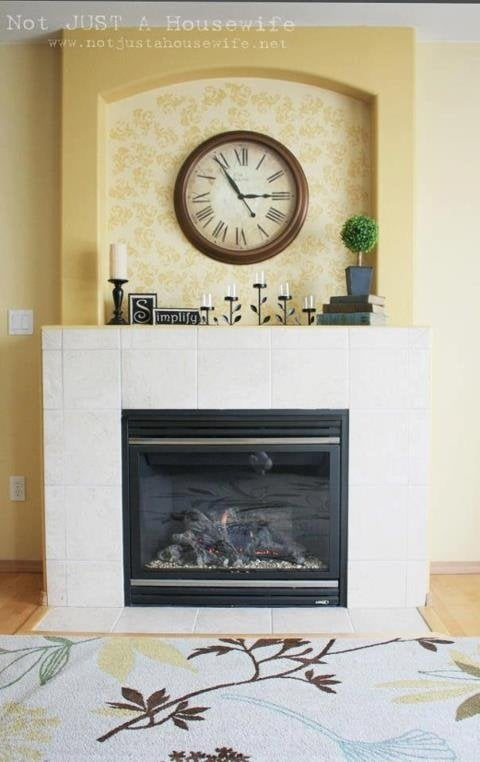 yellow stenciled fireplace - pinterest