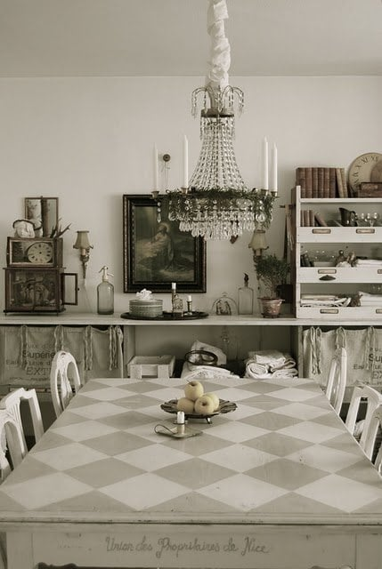 Checkerboard table from Pinterest