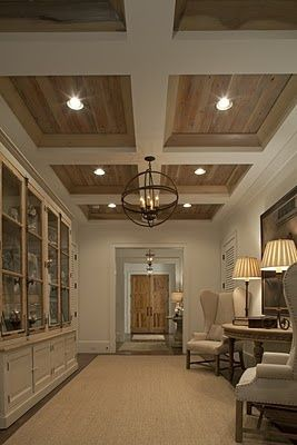 panelled ceiling with recessed lights