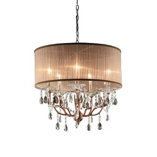 OK LIghting 25_inch Antique brass rosie crystal ceiling lamp