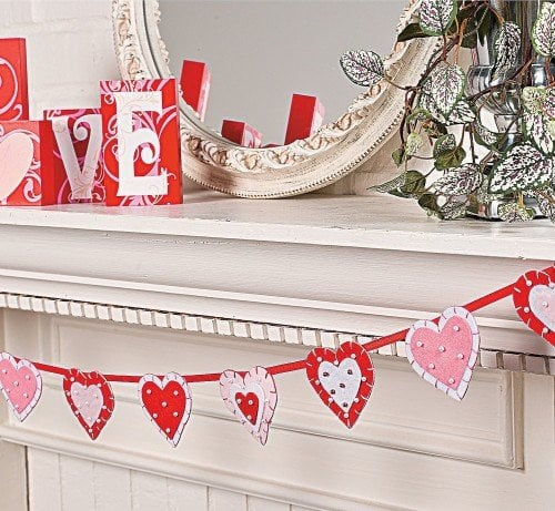 red, white and pink hearts on Layered Heart Garland