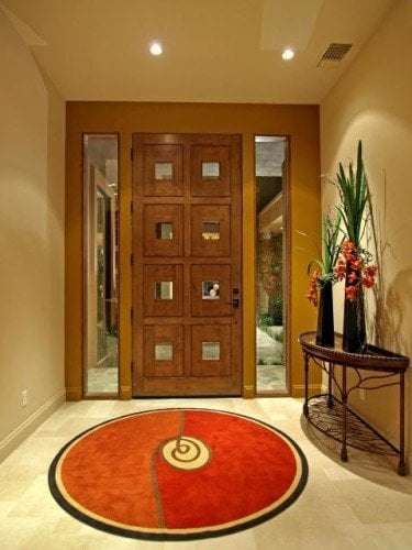 round rug and square door features