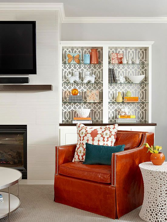 use wallpaper on the back of your shelving