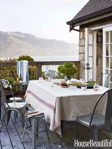 galvanized metal chairs and table