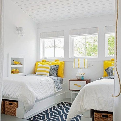 navy and yellow accents