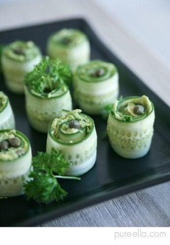 cucumber rolls with creamy avocado garden party