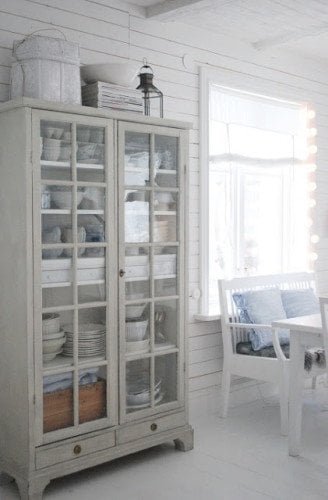 gray distressed cabinet