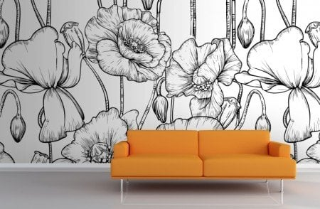 Design-Black-and-White-Illustrated-Flowers-Mural-Room2