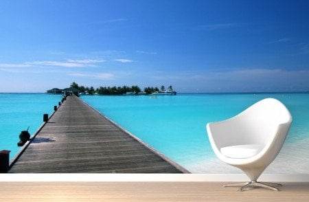 Tranquil-Footbridge-Beach-Mural-Wallpaper-Room2
