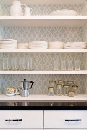 contact paper on kitchen shelving
