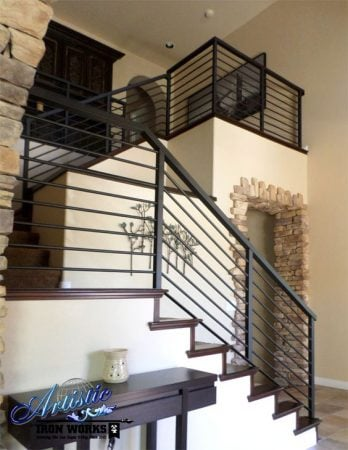 Example of Wrought Iron Stair railing, by Artistic Iron Works, Las Vegas, NV