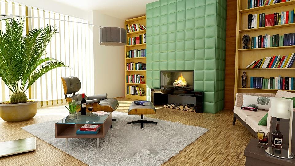 green faux fireplace no tech rooms
