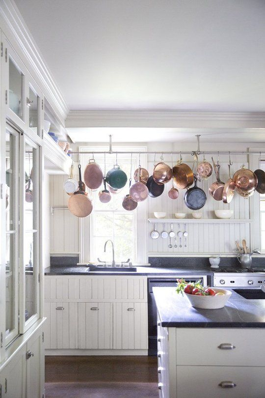 open shelves for pots and pans