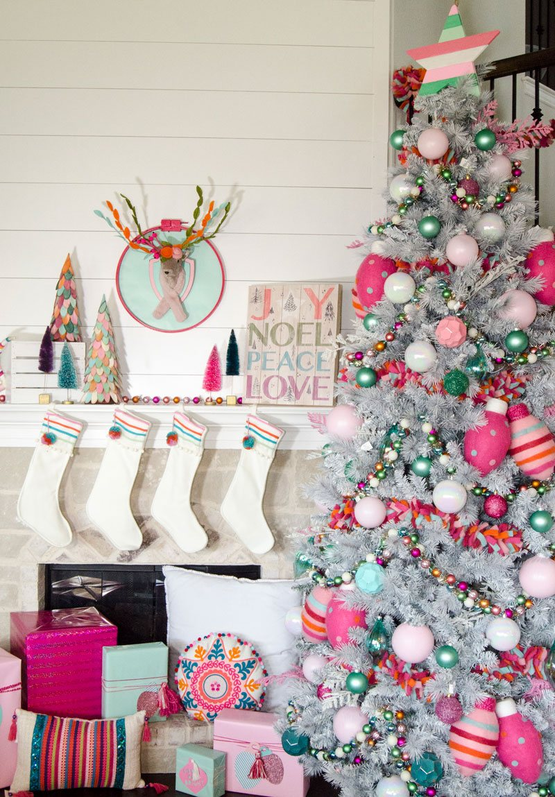 Pink ornaments and Christmas Tree