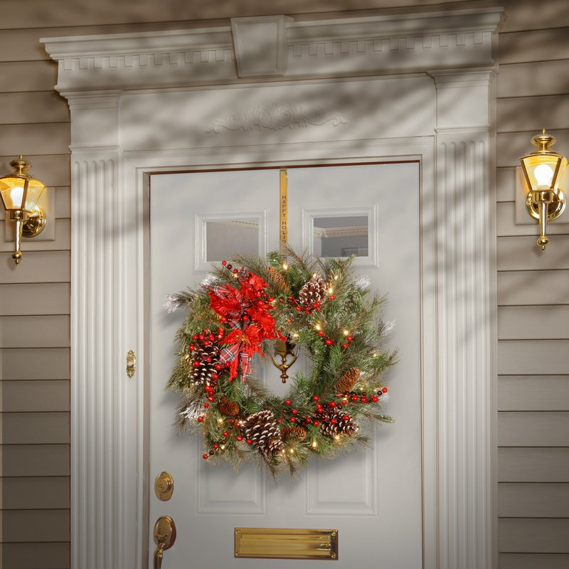... Christmas Wreath Front Door Wreath. Tartan Plaid Wreath With 50 White  LED Lights