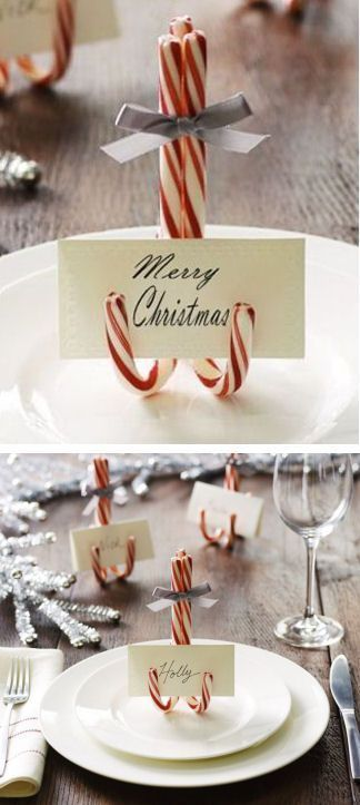 striped cane candy place setting