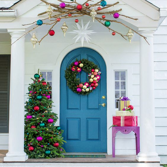 Front porch with Christmas decorations