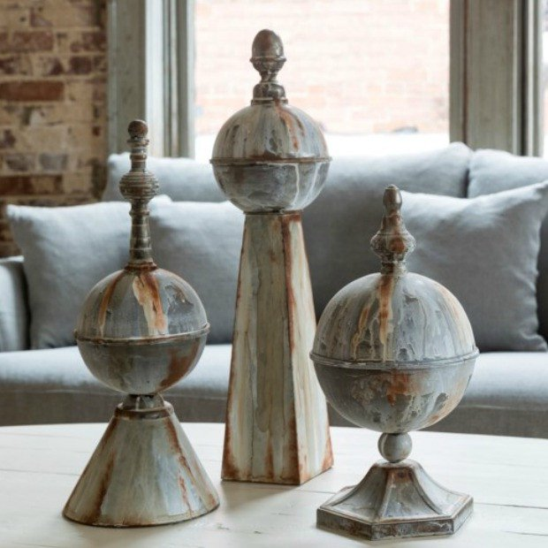 Aged Metal Decorative Finial, Set of 3