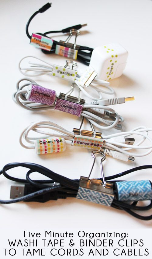 washi tape and binder clips or toilet rolls