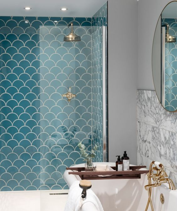 fishscale tiles in blue