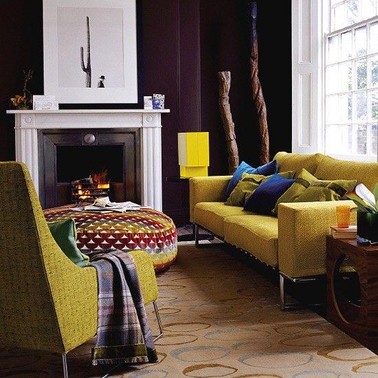 Chocolate & mustard lounge - love that ottoman