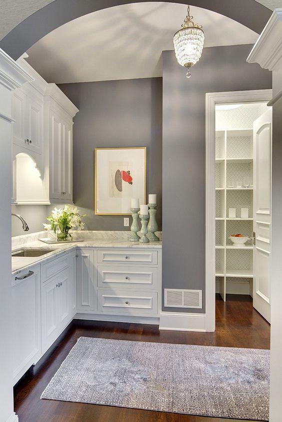 """White cabinets & gray walls - Benjamin Moore """"Dior Gray"""""""