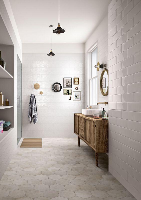 Bathroom hexagon flooring