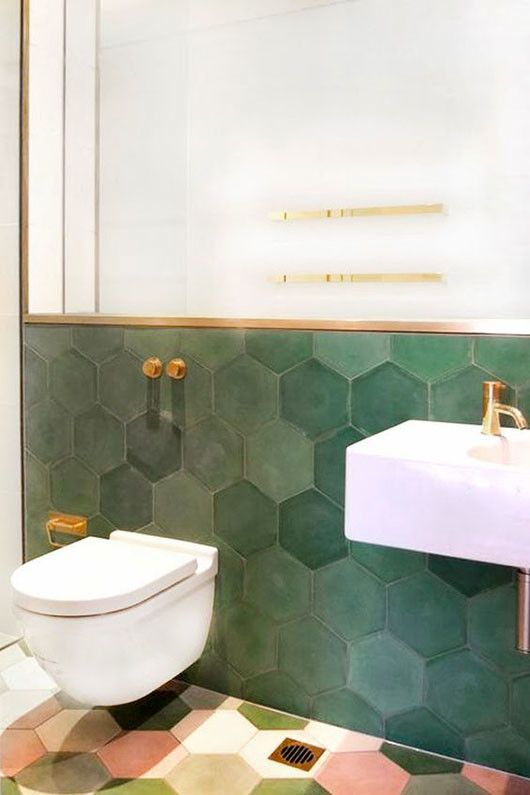 "dark green hexagonal tiles with gold finish More ""width ="" 445 ""height ="" 668 """