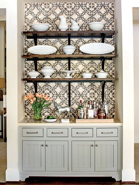 Add a patterned paper behind floating shelves