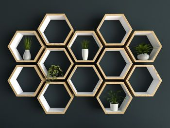 Hexagon shelves hand painted white and oiled oak