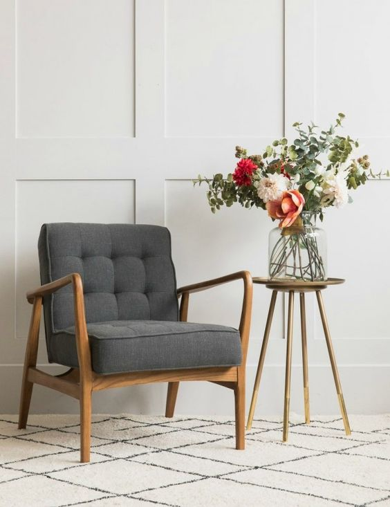 Mid-Century Button-and-Stud Linen Armchair