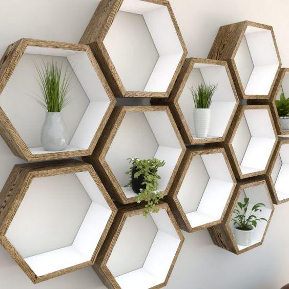 Hexagon shelves inside white painted outside dark oak