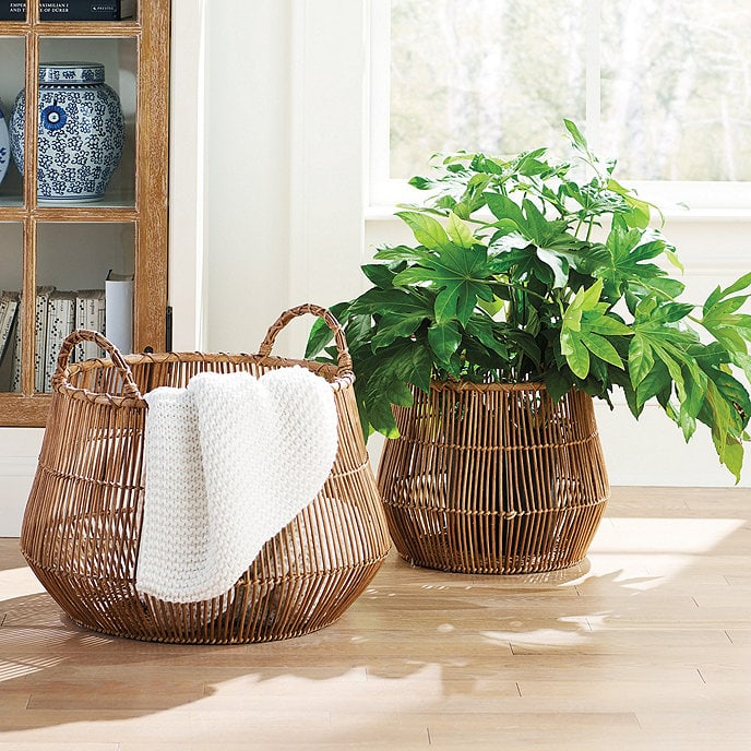 Use an Open Basket to Store Pillows and Blankets