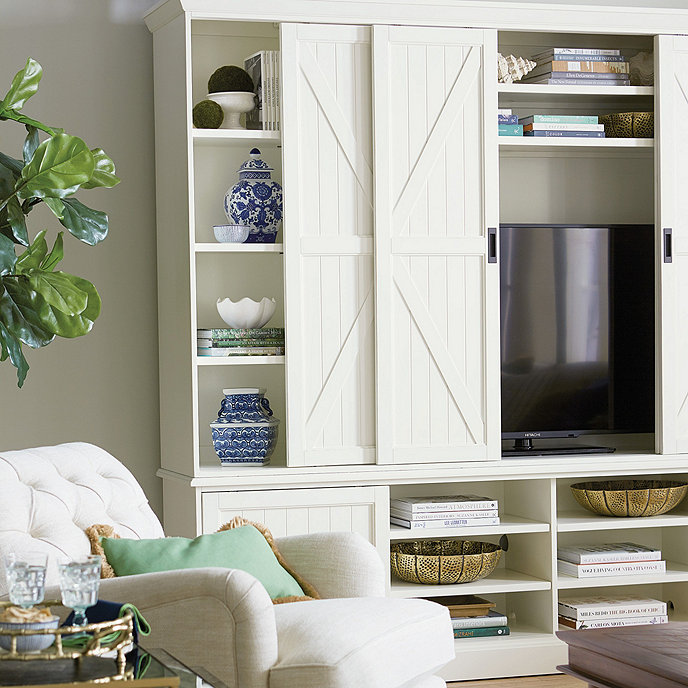 Entertainment Center With A Barn Door