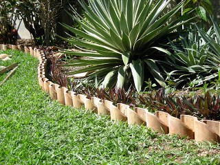 Repurpose Clay Roof Tiles for Garden Edging