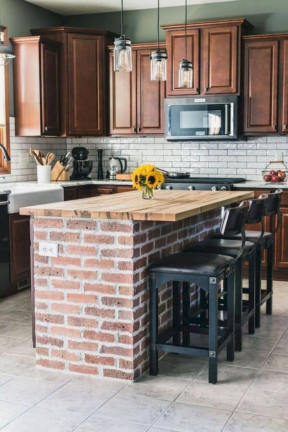 Barnwood Countertop with Brick Kitchen Island