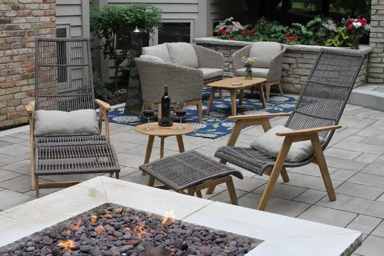 A Complete Outdoor Setup on a Flagstone Patio