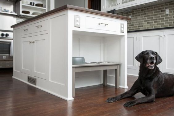 Kitchen Island with Pet bowls