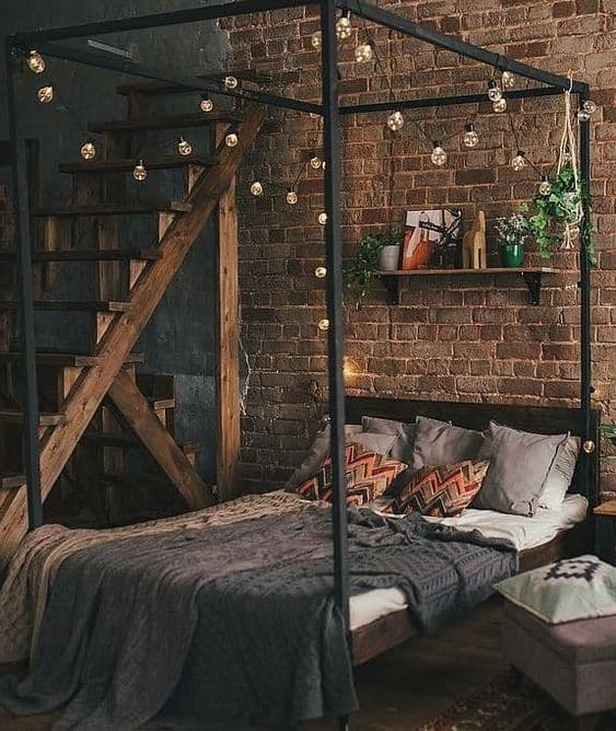 Hanging Light Bulbs Over the Bed